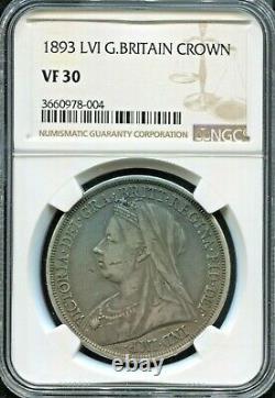 Great Britain Beautiful Historical Qv Silver Crown, 1893 Lvi, Ngc Graded Vf 30