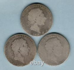 Great Britain. George 111 Crowns 1818, 1819 & 1820. G aVG (3 Coins)