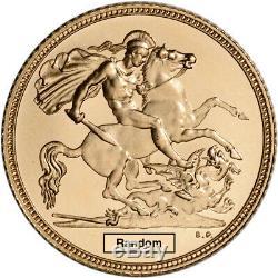 Great Britain Gold 1/2 Sovereign. 1177 oz Elizabeth II Crown BU Random Date