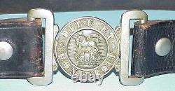 Great War (WWl) British Silver Over Brass Buckle & Belt, UK Lion & Kings Crown