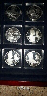 Kings & Queens of Great Britain Silver proof crown set by the royal mint
