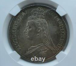 NGC MS63 Great Britain UK 1887 Queen Victoria Silver Coin 1 Crown