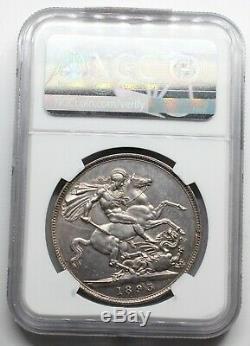 Ngc Unc 1893 LVI Uk Great Britain Victoria 1 Crown Silver Coin