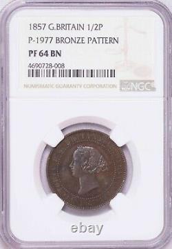 Ngc-pf64bn 1857 Great Britain Half Penny=5cents Bronze Pattern Pop Top