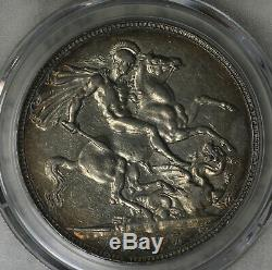 Nice Original Almost Uncirculated 1897 Great Britain Crown LXI Edge PCGS AU50