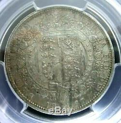 PCGS AU58 Gold Shield-Great Britain 1887 Victoria Silver 1/2 Crown Scarce