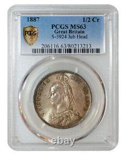 PCGS MS63 1887 GREAT BRITAIN Queen Victoria Half Crown Jubilee Head toned