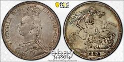 PCGS MS63 1889 Great Britain Crown beautiful Toning