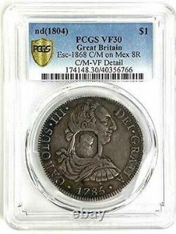 Pcgs Vf30 1804 Great Britain Dollar-octagonal Counterstamp Mexico 1785 8r-rare