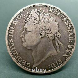 Rare 1821 Uk Great Britain George IV Georgius IIII Crown Silver Coin