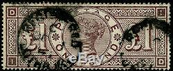 SG185, SCARCE £1 brown-lilac, FINE USED. Cat £2800 WMK CROWNS. SUPERB COLOUR. ID