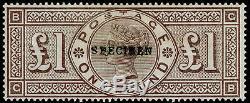 SG185s, SCARCE £1 brown-lilac, M MINT. Cat £2800. WMK CROWNS. SPECIMEN. GB