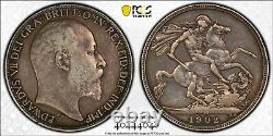 Silver 1902 England Great Britain Crown Edward VII S-3978 PCGS VF35