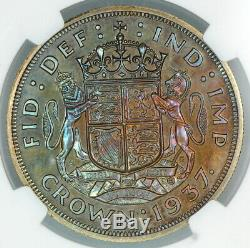 Toned Ngc Pf64 1937 Great Britain Silver Proof Crown (bc05)