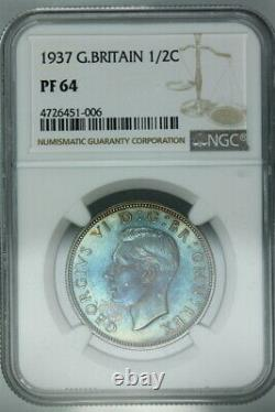 Toned Ngc Pf64 1937 Great Britain Silver Proof Half Crown 1/2c (bc06)