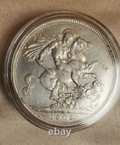 Uk 1902 Great Britain Edward VII Silver Crown Nice
