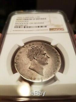 Very rare 1826 Brockage mirror image ERROR half crown Great Britain NGC graded