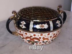 Vintage Crown Derby Style Crocus Bulb Vase Jardinière Bowl Imari Art Pattern