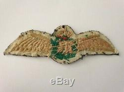 WW1 RFC Pilot Wing Canadian made, Piped crown with Rare Green wreath