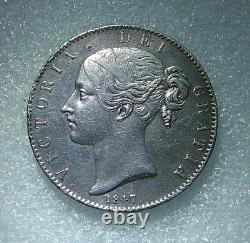 1 Crown Victoria Grande-bretagne Jeune Portrait 1847 Axf