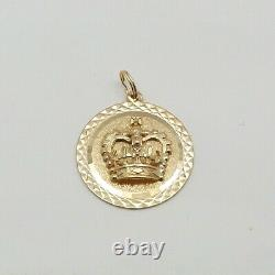 14k Royal Gold Crown Famille Grande-bretagne Royaume-uni Charm Pendentif