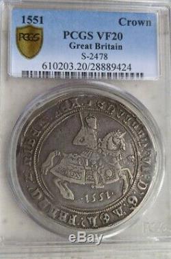 1551 Couronne S-2478 Grande-bretagne Pcgs Vf20 Edward VI Silver Coin Très Fine Rare