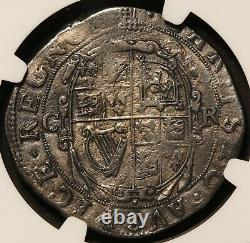 1633-34 Grande-bretagne Angleterre 1/2 Demi Couronne Pièce D'argent S-2771 Ngc Xf Détails