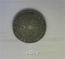 1662 Grande-bretagne Argent Couronne, Pièce De Monnaie Charles Ii, Rose, Decus Et Tutamen Rare