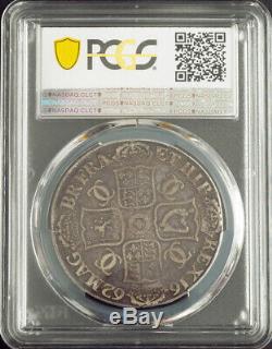 1662, La Grande-bretagne, Charles Ii. Belle Grande Couronne Argent Coin. Pcgs Vf-35