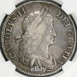 1662 Ngc Vf 25 Charles II Couronne Angleterre Grande-bretagne No Rose Coin (19082505c)