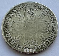 1663 King Charles II Silver Crown Fine Historic Coin