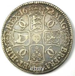 1672 Grande-bretagne Angleterre Charles II Crown Coin Xf Détails (ef) Rare