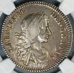 1672 Ngc Vf 25 Charles II Argent 1/2 Couronne Rare Grande-bretagne Angleterre 19031603c