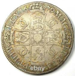 1679 Grande-bretagne Angleterre Charles II Crown Coin Vf / Xf Détails (ef) Rare