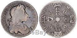 1681 Couronne Charles II Grande-bretagne Pièce D'argent