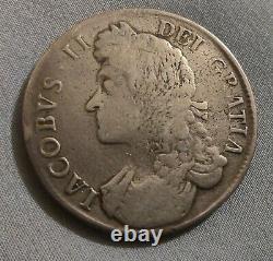 1687 Grande-bretagne Angleterre James II Crown Coin Pièce Rare Au Prix De Vendre