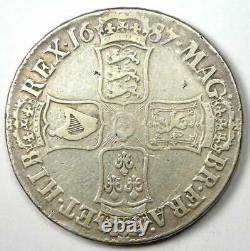 1687 Grande-bretagne Angleterre James II Crown Coin Vf / Xf Détails Rares