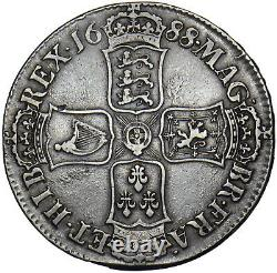 1688 Couronne (8 Sur 7) James II Pièce D'argent Britannique Nice