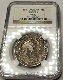 1689 Grande-bretagne 1/2 Crown World Silver Coin Ngc Vf20 William Et Mary Esc-505