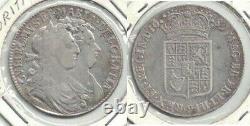 1689 Grande-bretagne William & Mary Silver Half Crown, 1er Reverse - Very Fine