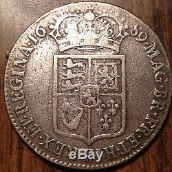 1689 Uk GB Grande-bretagne Argent Demi-couronne Ex Montage