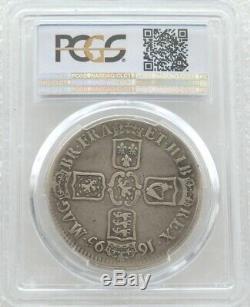 1695 Grande-bretagne Le Roi Guillaume III Septimo Silver Crown Coin Pcgs Vf20