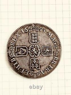 1695 Grande-bretagne Uk William III Antique Silver Crown Coin