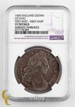 1696 Angleterre (grande-bretagne) Couronne Graded Vf Détails Par Ngc Silver Coin, Km # 486