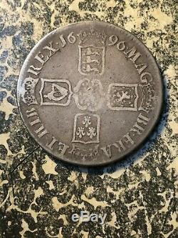 1696 Grande-bretagne William III 1 Couronne Lot # Jm1749 Grand Silver Coin