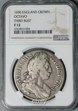 1696 Ngc F 12 William III Crown Silver Great Britain Third Bust Coin (21020204c)