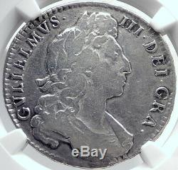 1697 Grande-bretagne Uk King William III Antique Silver Half Crown Coin Ngc I81752