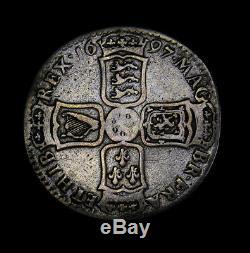 1697-y Grande-bretagne Moitié 1/2 Couronne Km # 491,12 William III Nono Scarce York Monnaie