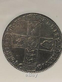 1698 Grande-bretagne Angleterre Decimo 1/2 C Couronne Pièce D'argent Ngc Ms 62 Rare