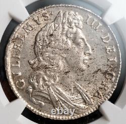 1698, Grande-bretagne, Guillaume Iii. Grande Pièce De Couronne Certifiée Silver 1/2. Ngc Unc+